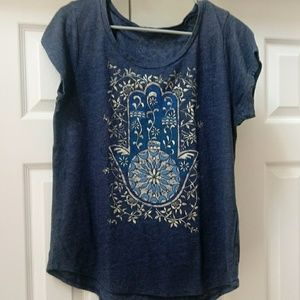 Lucky brand Heathered blue, silver floral hand tee